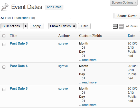 Event Dates listing